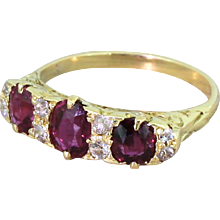 Edwardian 1.20 Carat Ruby & Old Cut Diamond Half Hoop Ring, circa 1905