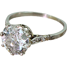 Retro 2.17 Carat Old Cut Diamond Engagement Ring, circa 1945