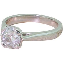 1.07 Carat Old Cut Diamond Solitaire Engagement Ring, 18k White Gold
