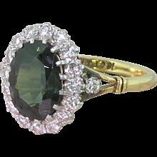 Art Deco 3.38 Carat Green Sapphire & Diamond Coronet Cluster Ring, circa 1940