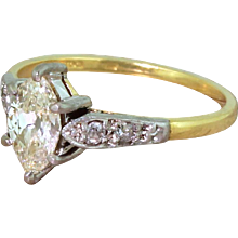 Art Deco 0.77 Carat Old Marquise Cut Diamond Engagement Ring, circa 1945