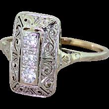 """Mid Century 0.21 Carat Diamond """"Filigree"""" Plaque Ring, circa 1950"""