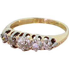 Victorian 0.90 Carat Natural Fancy Cognac Old Cut Diamond Five Stone Ring, circa 1900