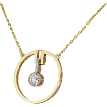 "Art Deco 0.70 Carat Old European Cut Diamond ""Circle"" Pendant, circa 1920"