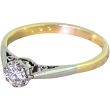 Late 20th Century 0.30 Carat Round Brilliant Cut Diamond Engagement Ring, circa 1970