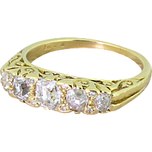Victorian 1.20 Carat Old Cut Diamond Five Stone Ring, circa 1870
