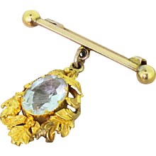 Victorian 3.00 Carat Aquamarine Foliate Drop Pin, circa 1900
