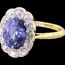 Art Deco 3.00 Carat Sapphire & Old Cut Diamond Cluster Ring, circa 1925