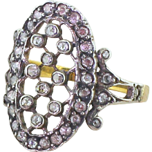 "0.62 Carat Rose Cut Diamond ""Lattice"" Ring, Yellow Gold"