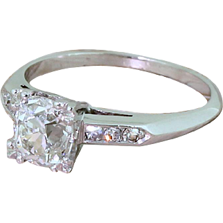 Art Deco 1.20 Carat Old Cut Diamond Engagement Ring, French, circa 1930