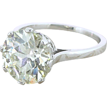 Art Deco 4.12 Carat Old European Cut Diamond Engagement Ring, French, circa 1935