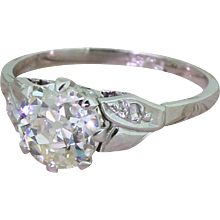Art Deco 1.64 Carat Old Cut Diamond Engagement Ring, circa 1940