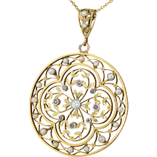 Art Nouveau Natural Seed Pearl & Rose Cut Diamond Pendant, circa 1900