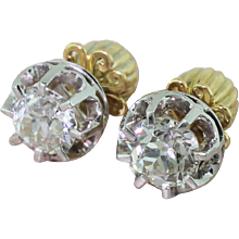 Art Deco 2.55 Carat Old European Cut Diamond Stud Earrings, circa 1940