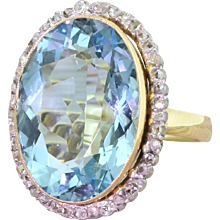 Retro 16.92 Carat Aquamarine & Rose Cut Diamond Cluster Ring, circa 1945