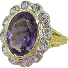 Art Deco 5.00 Carat Amethyst & Rose Cut Diamond Cluster Ring, circa 1930