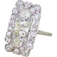 Art Deco 3.05 Carat Old Cut Diamond Plaque Ring, circa 1920
