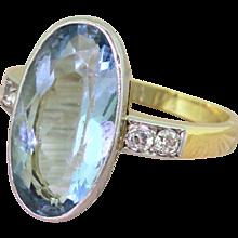 Art Deco 6.50 Carat Oval Cut Aquamarine Solitaire Ring, circa 1935