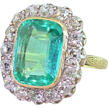 Edwardian 6.00 Carat Minor Oil Colombian Emerald & Old Cut Diamond Ring, circa 1910