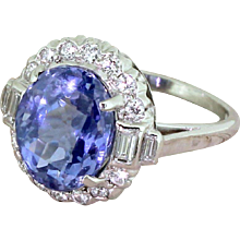 F & F FELGER 6.35 Carat Natural Sapphire & Diamond Cluster Ring, American, circa 1940
