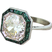 Art Deco 2.91 Carat Old Cut Diamond & Calibré Cut Emerald Engagement Ring, circa 1930