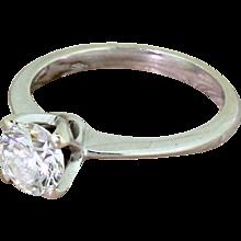 0.90 Carat Flawless Round Brilliant Cut Diamond Engagement Ring, 18k White Gold