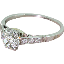 Mid Century 1.02 Carat Transitional Cut Diamond Engagement Ring, circa 1950