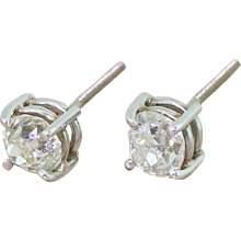 1.06 Carat Old Mine Cut Diamond Stud Earrings, 18k White Gold