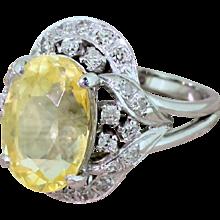 Mid Century 7.05 Carat Natural Ceylon Yellow Sapphire Ring, circa 1965