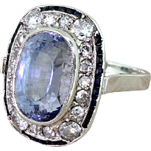 Art Deco 8.68 Carat Natural Ceylon Sapphire & Diamond Cluster Ring, circa 1940