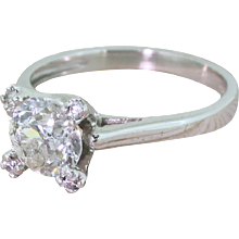 1.38 Carat Old Cut Diamond Solitaire Engagement Ring, Portuguese, White Gold