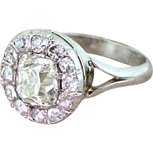 Art Deco 1.69 Carat Old Cut Diamond Cluster Ring, French, circa 1925