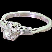 Art Deco 0.98 Carat Old Cut Diamond Engagement Ring, circa 1930
