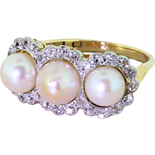 Art Deco Natural Pearl & Old Cut Diamond Triple Cluster Ring, circa 1925