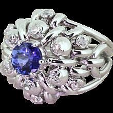Late 20th Century 1.23 Carat Tanzanite & Diamond Cocktail Ring, circa 1975