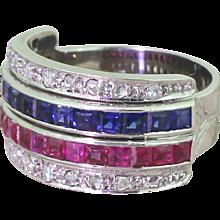 Art Deco Sapphire, Ruby & Rose Cut Diamond Four Row Ring, circa 1935