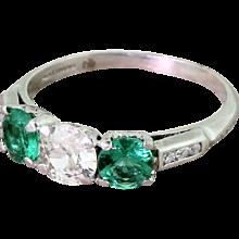 Art Deco 0.65 Carat Old Cut Diamond & Emerald Trilogy Ring, circa 1920