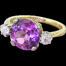 Retro 4.00 Synthetic Purple Sapphire & Diamond Ring, dated 1942