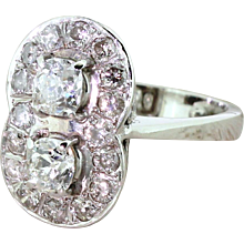 Retro 2.08 Carat Old Cut Diamond Double Cluster Ring, circa 1945
