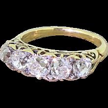 Victorian 3.50 Carat Old Cut Diamond Five Stone Ring, circa 1870