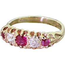 Victorian Ruby & Old Cut Diamond Five Stone Ring, circa 1890