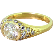 Mid Century 1.21 Carat Old Oval Cut Diamond Solitaire Ring, circa 1960