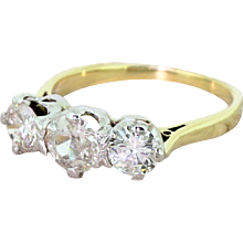 Mid Century 1.78 Carat Old Cut Diamond Trilogy Ring, circa 1965