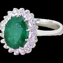 Late 20th Century 2.00 Carat Emerald & Diamond Cluster Ring, circa 1980