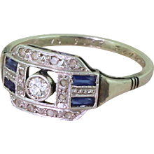 Art Deco Old Cut Diamond & Baguette Cut Sapphire Ring, French, dated 1933