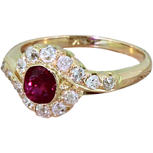 Edwardian 0.55 Carat Ruby & 0.60 Carat Old Cut Diamond Cluster Ring, circa 1910
