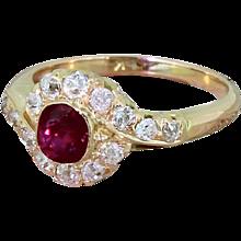Edwardian 0.55 Carat Ruby & 0.60 Carat Old Cut Diamond Cluster Ring, circa 1910