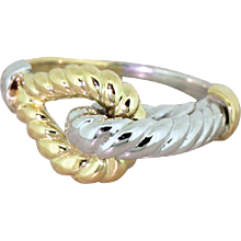 "HERMES 18k White & Yellow Gold ""Rope"" Ring, French, circa 1965"