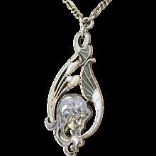 Art Nouveau Plique-à-Jour & Natural Pearl Pendant, French, circa 1910