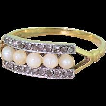 Art Deco Five Pearl & Rose Cut Diamond Ring, French, circa 1915